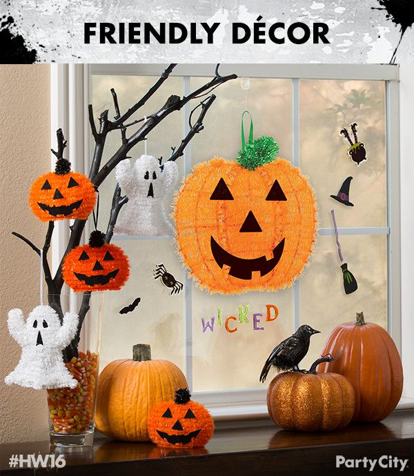 Delightfully decorate for Halloween with mini and full size tinsel - halloween window clings
