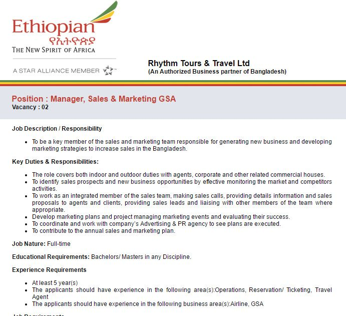Rhythm Tours \ Travel Ltd Manager, Sales \ Marketing GSA Job - sales marketing executive job description
