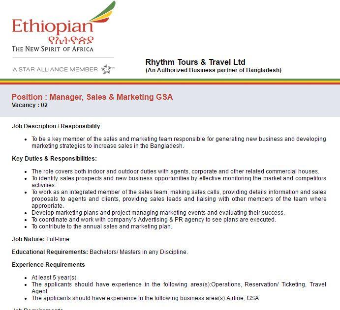 Rhythm Tours  Travel Ltd Manager Sales  Marketing Gsa Job