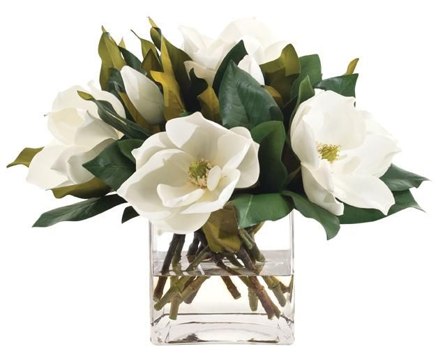 Natural Decorations Inc Magnolia White Glass Cube Fake Flower Centerpieces Magnolia Decor Magnolia Centerpiece