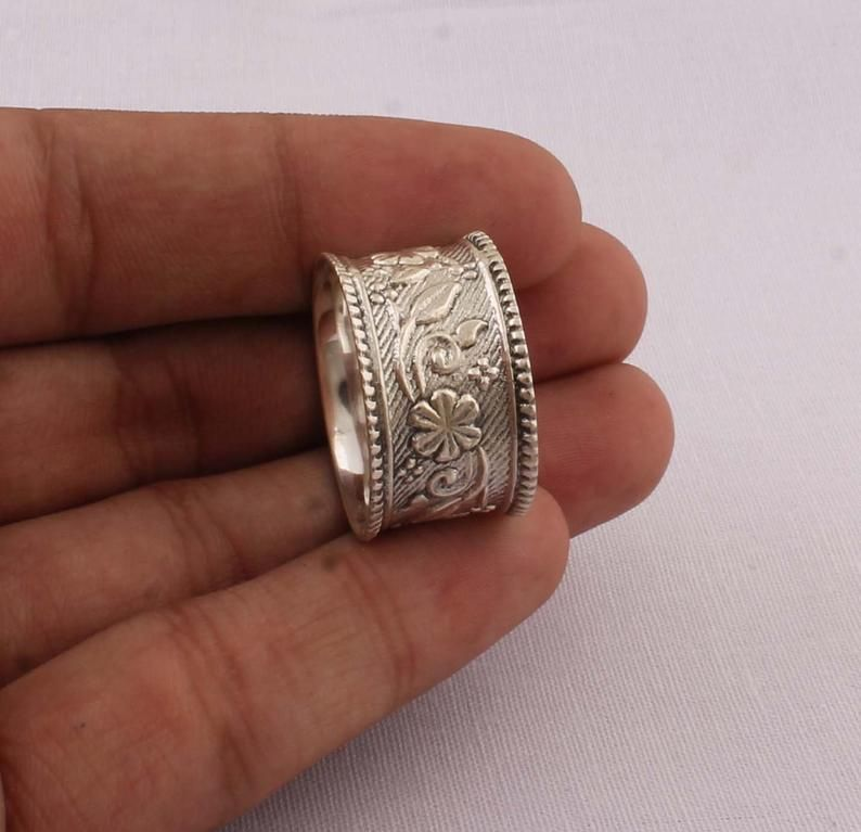 Solid Silver Band Ring Plain Silver Band 925 Sterling Solid Silver Band Ring Handmade Boho Band Ring  Thumb Band Ring  Gift For Her