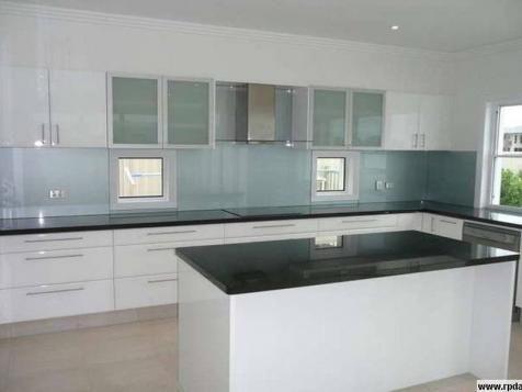 White Kitchen Black Benchtop white kitchen, dark benchtop & window with sink on side | home
