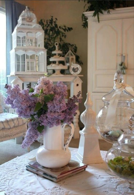 Lilacs with white