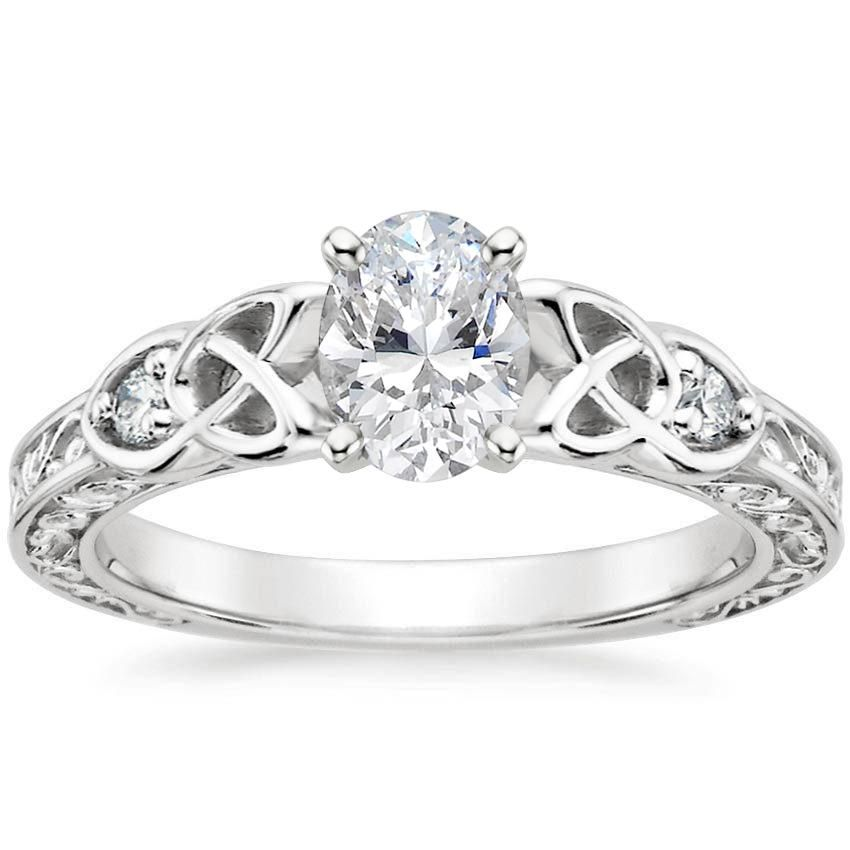 Oval Cut Aberdeen Diamond Engagement Ring - 18K White Gold