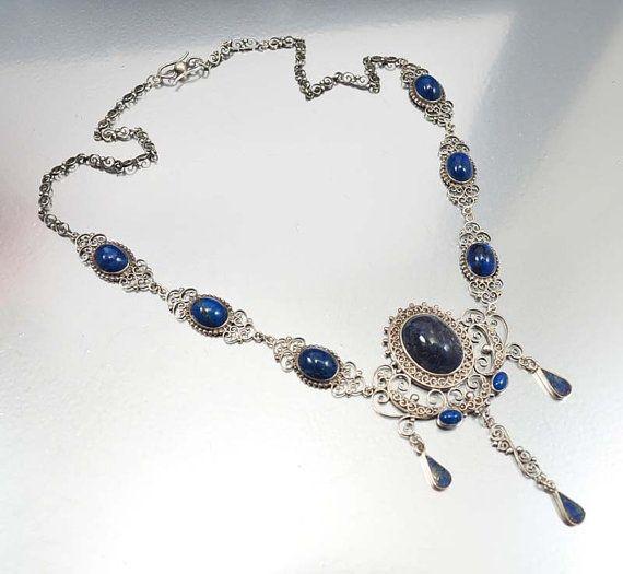 Antique Silver Lapis Victorian Necklace Edwardian Edwardian Jewelry