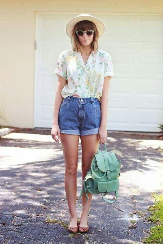 Estilo Denim, Short En Jean, High Waisted Shorts Outfits With, Denim Shorts  Outfit