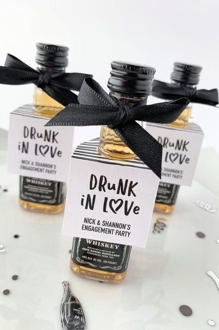 Drunk in love alcohol favor tags fit mini liquor bottles