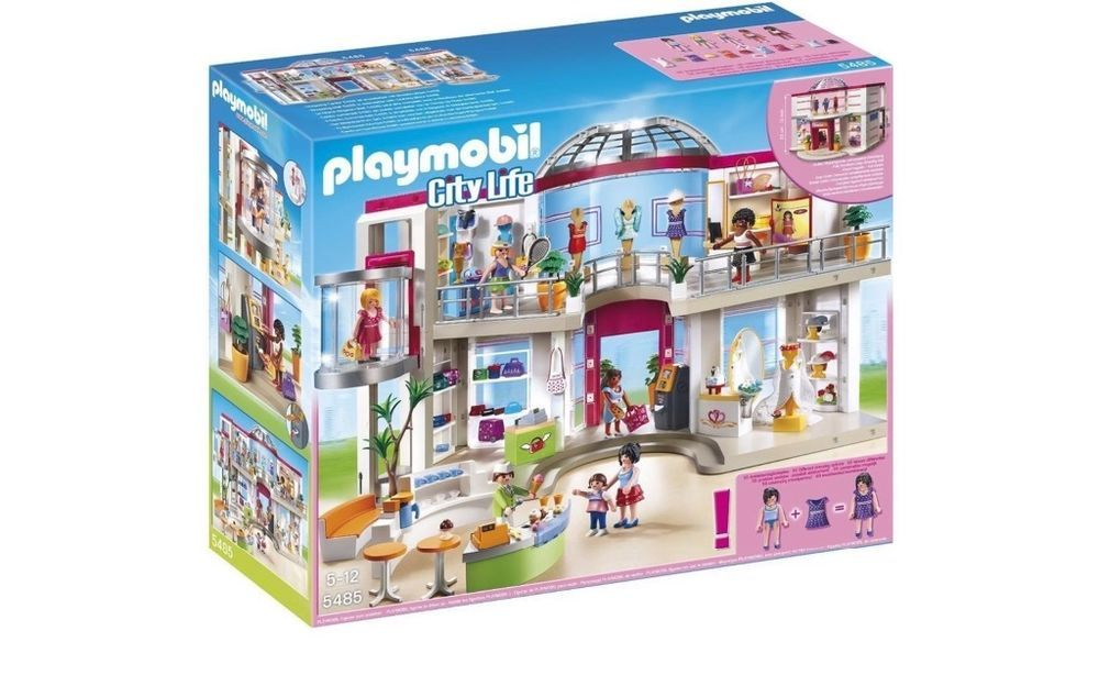 playmobil shopping mall playset furnished figures
