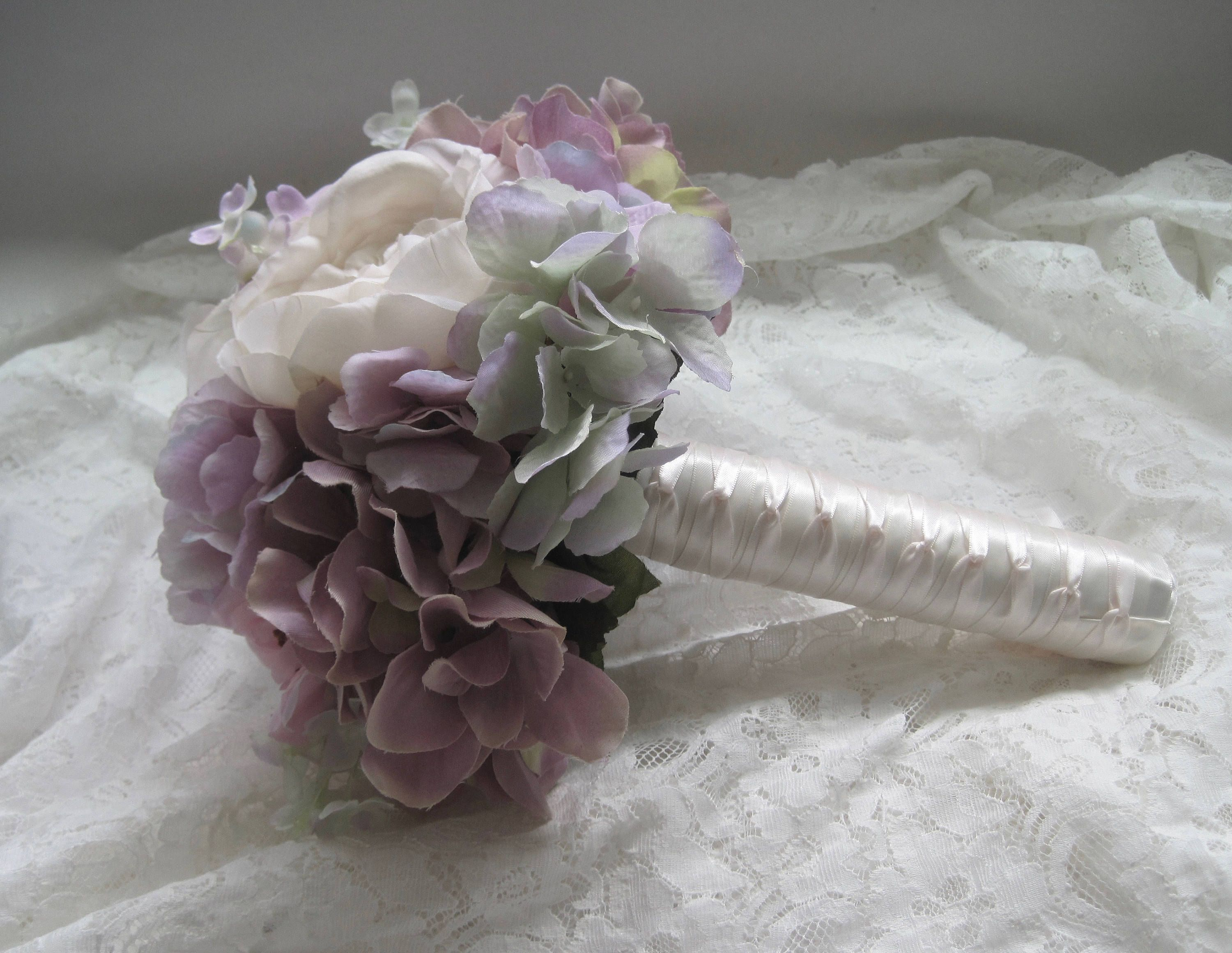 Lavender Bridal Bridesmaid Prom Bouquet With Roses Peonies Hydrangea French Knotted Bridesmaids Flower Girl Wedding Flowers Ready To Ship Bridesmaid Flowers Prom Bouquet Bridesmaid Bouquet