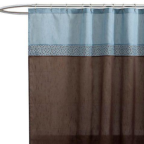 Geometric Blue Brown Fabric Shower Curtain Fabric Shower Curtains Light Blue Curtains Blue Shower Curtains