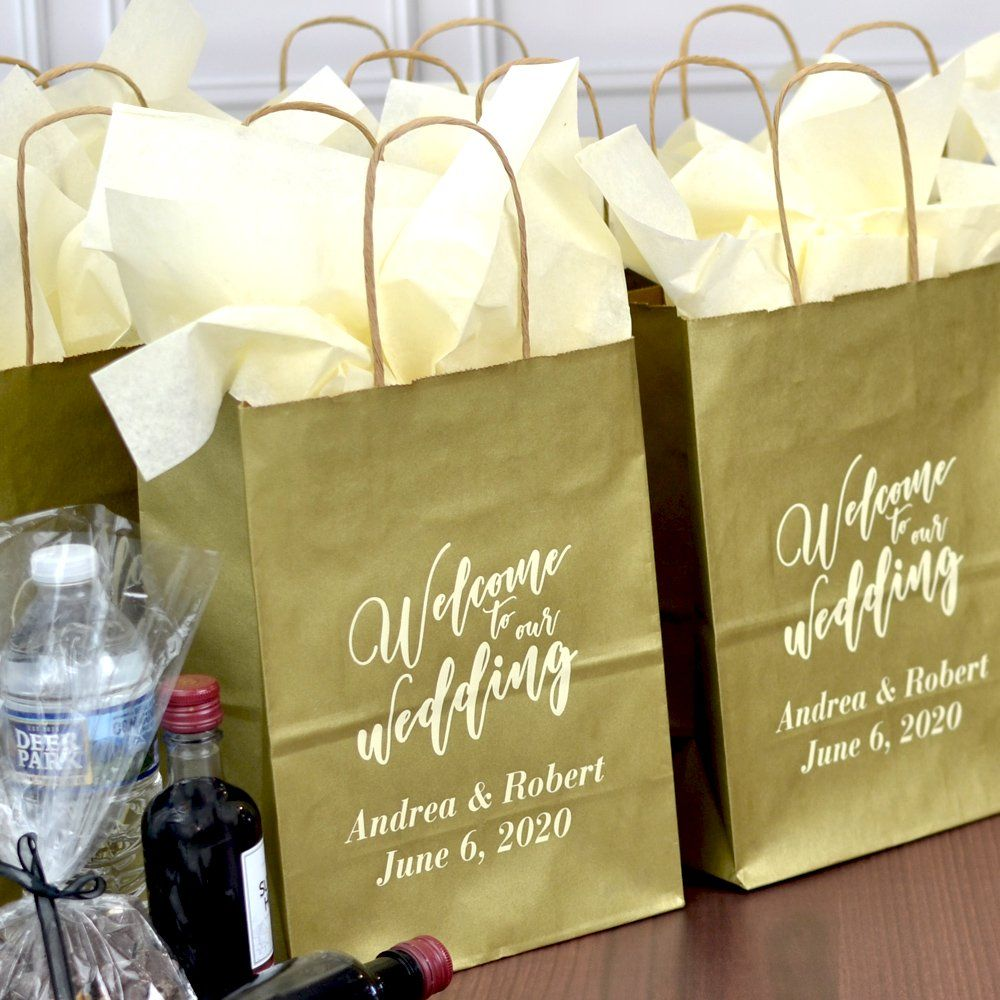 8 X 10 Kraft Wedding Welcome Gift Bags Personalized In 2020 Wedding Hotel Gifts Wedding Gift Bags Wedding Welcome Gifts