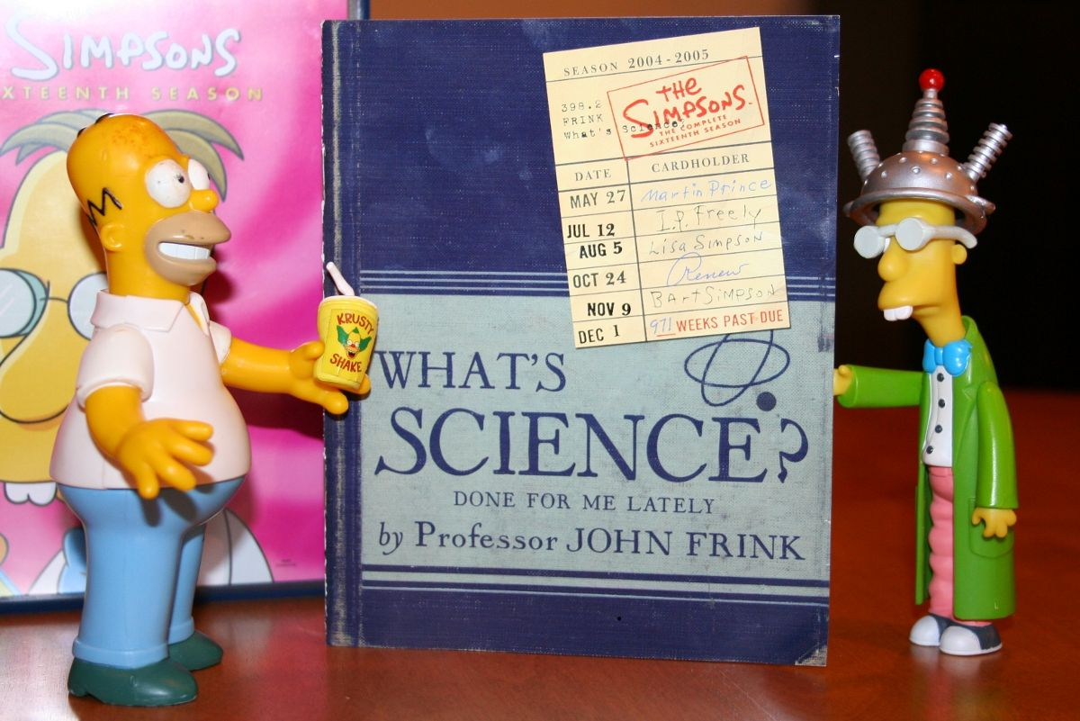 Professor Frink and Homer with The Simpsons Season 16 DVD booklet