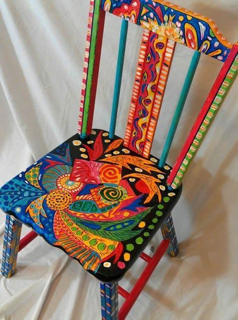 Hand Painted Abstract Ooak Functional Art Chair Old