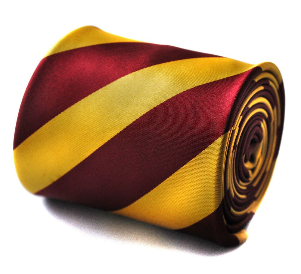 Gold and Maroon Gold Striped Mens Pole Dancing Tie by Frederick Thomas FT721 #FrederickThomas #Tie