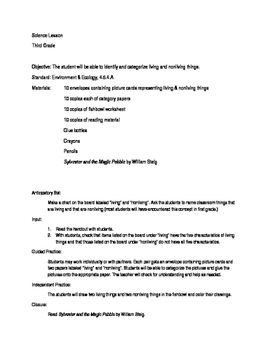 Living And Nonliving Things Rd Grade Science  Lesson Plan Format