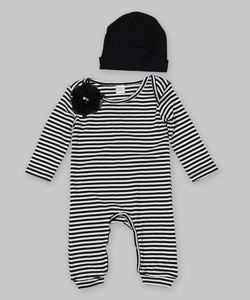 8a6fb5666cb Look at this Truffles Kids Black   White Stripe Flower Playsuit   Soft  Coral Beanie on today!