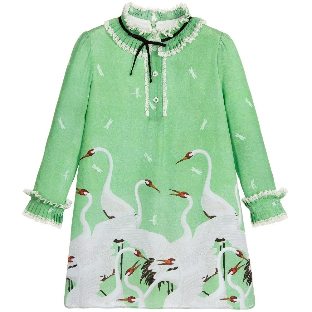 c95cd145b Girls beautiful green silk dress by Gucci. This elegant design has a  delightful heron print and dragonfly silhouettes. The neckline is round, ...