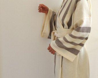 Brautjungfern-Robe-Satz von 5 Kimono Bademäntel Pestemal Bademantel Bath Robe türkisches Handtuch Extra weiche Baumwolle Obi Gürtel braun gestreift