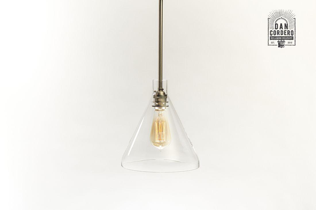 Glass Pendant Light Fixture Beaker Shade Edison Pendant