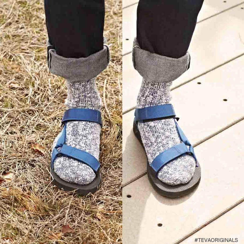 Pair wool socks and Teva sandals for an all-weather look. #TevaOriginals