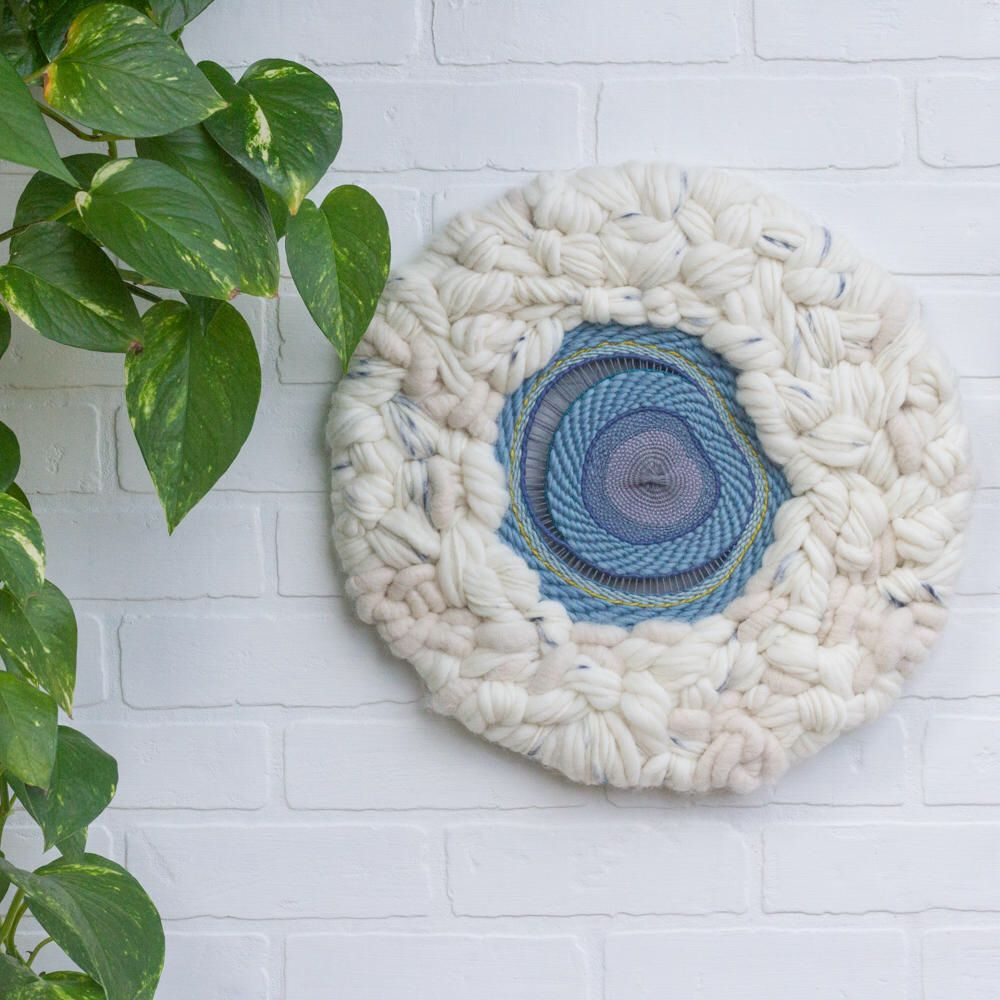 Round weaving large circular woven wall hanging abstract fiber