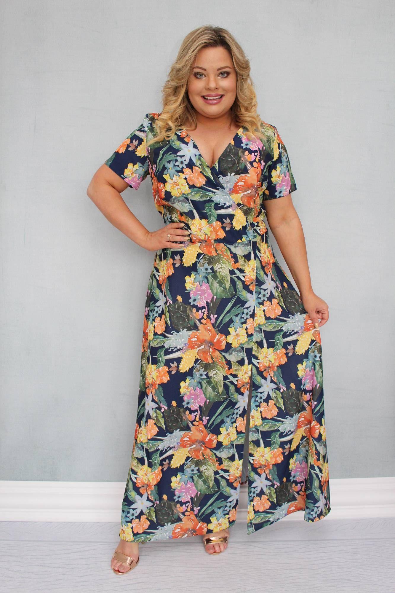 Sukienka Fiomena Zwiewna Long Kopertowy Dekolt Granat W Kolorowe Kwiaty Plus Size Outfits Maxi Dress Short Sleeve Dresses