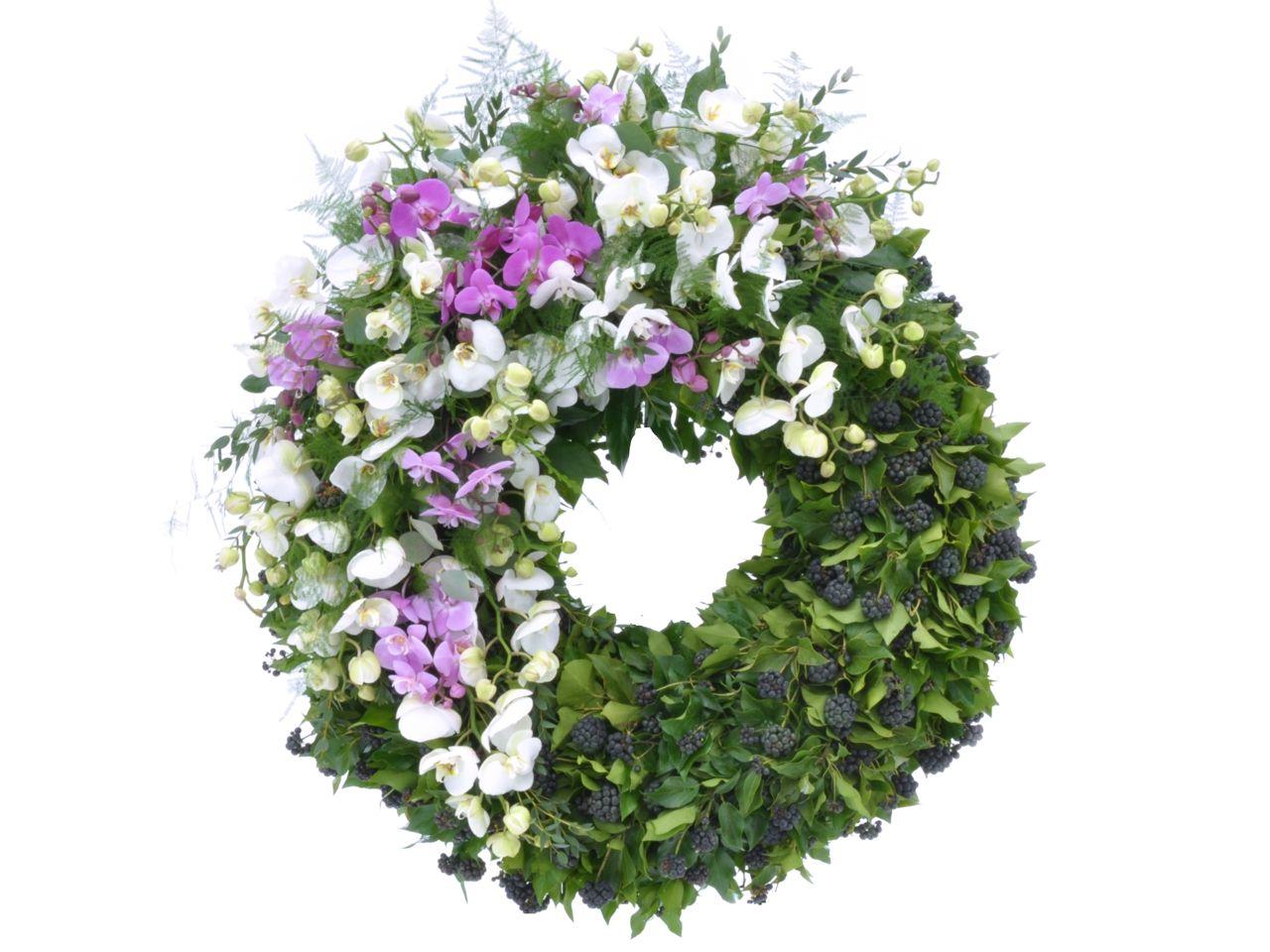 Orchideenkranz weiss und lila  Trauerkranz  Trauerfloristik Blumen und Trauerkranz