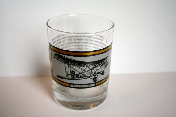 U.S. Mail Plane Glass by SucresDaintyDish on Etsy, $10.00