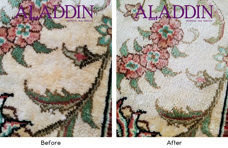 Urine stain removed by the experts here at Aladdin Oriental Rug Cleaning!  (732) 456-5511 #Stainremoval #RugCleaning #OrientalRugDyeing #OrientalRugRestoration #OrientalRugServices