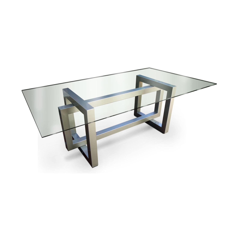 Mesa de comedor moderna de cristal de acero for Mesa inoxidable
