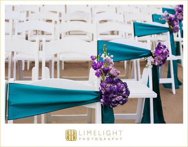 Wedding Day, Ceremony, Teal, Dark Purple, White Chairs, The Vinoy Renaissance St. Petersburg Resort & Golf Club, Limelight Photography, www.stepintothelimelight.com