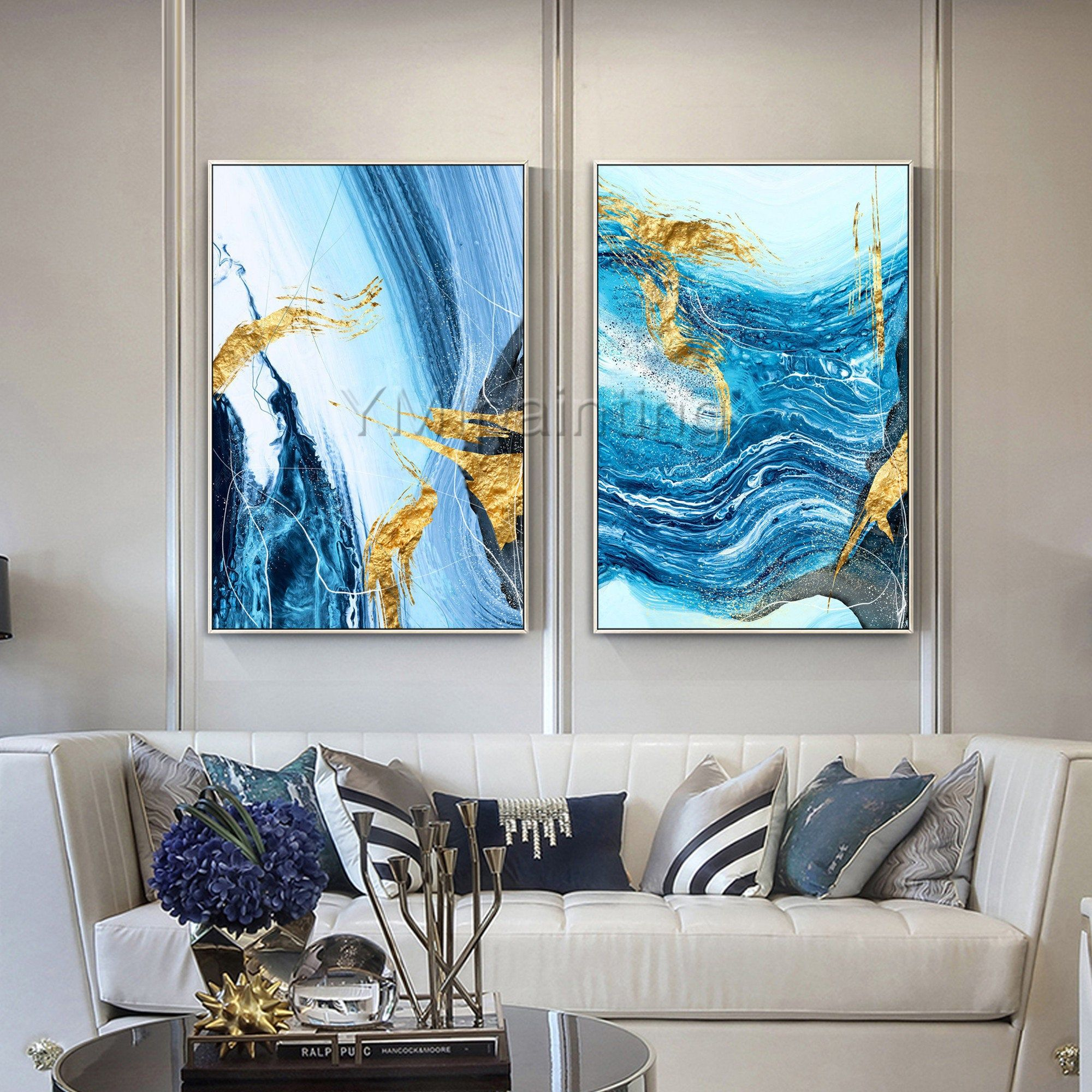 Framed Wall Art Set Of 2 Wall Art Abstract Paintings On Canvas Etsy Framed Wall Art Sets Canvas Painting Framed Wall Art