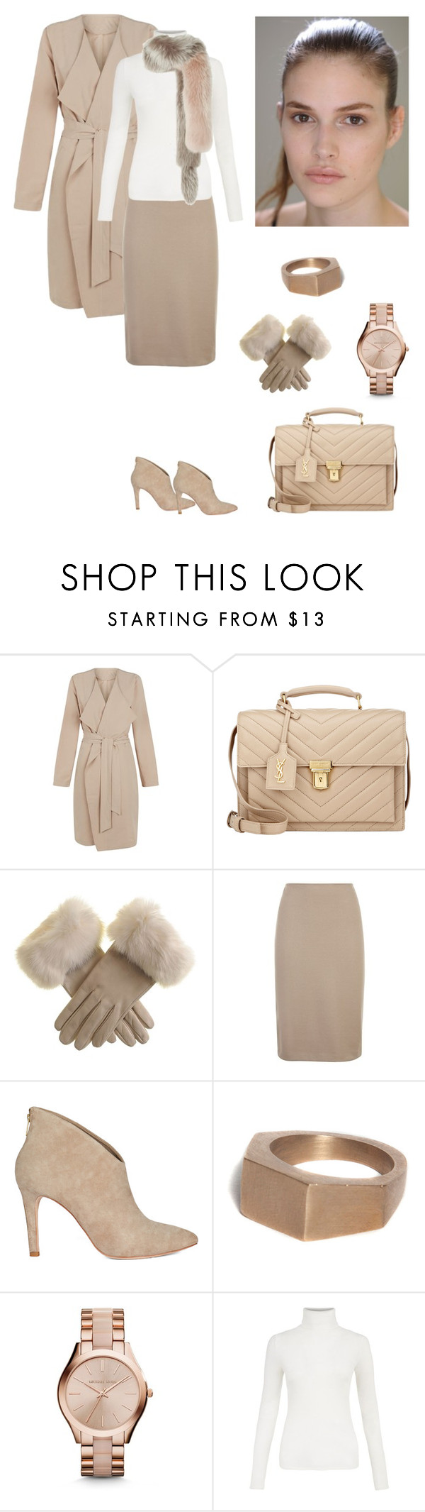 """""""Fur Details"""" by dezaval ❤ liked on Polyvore featuring First & I, Yves Saint Laurent, Armani Collezioni, Bare Collection, Michael Kors and Lanvin"""