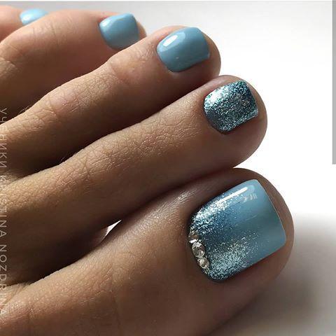 ⏩kristinanozdrina  gel toe nails blue toe nails