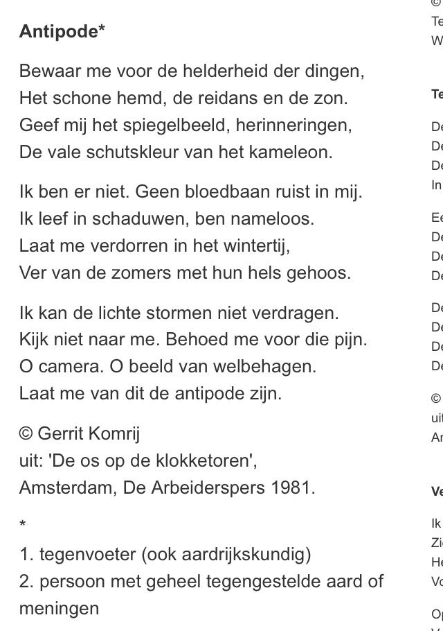 Antipode by Gerrit Komrij | Gedichten | Pinterest | Poem
