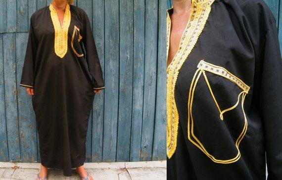 93428ec7bb3 Black Gold Ethnic caftan Plus size Boho dress shirt Maxi Hippie Festival  East Robe embroidered dress