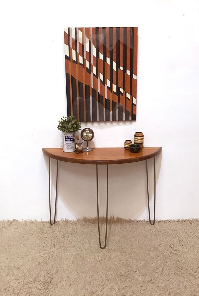 Stylish Console Table Built From A G Plan Dining Table With Added Hairpin Legs Giving It A Retro