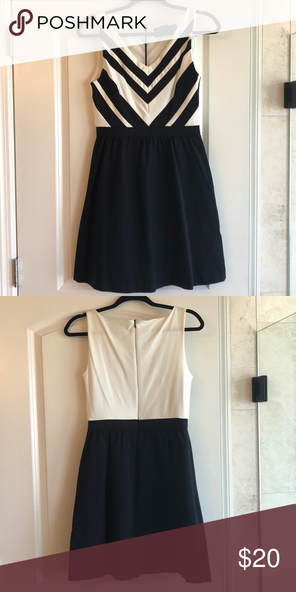 Black And White Sleeveless Dress Cute With Hidden Back Zipper Cynthia Rowley