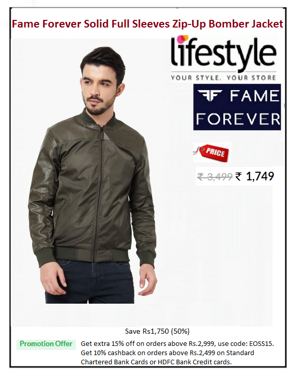 1fcfa7b4d41 #Fame #Forever #Solid #Full #Sleeves #Zip-Up #Bomber #Jacket #Type :  Bombers #Price: ₹1,749.00 #Fabric : Faux Leather #Weight : Medium