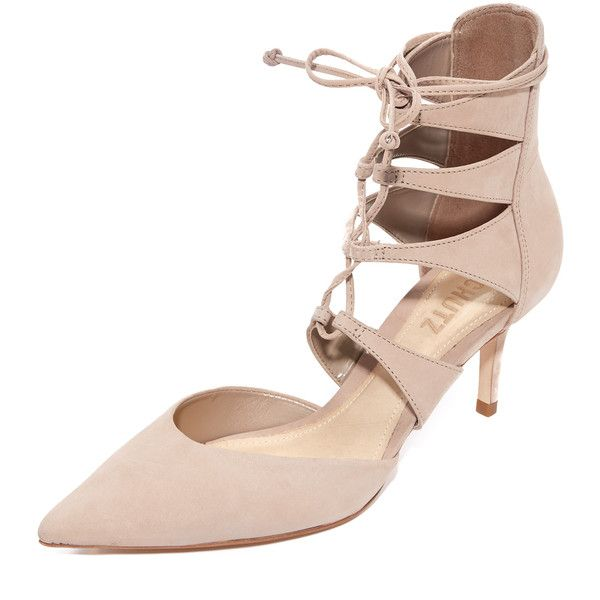 Schutz Suzin Lace Up Pumps (4,525 INR) ❤ liked on Polyvore featuring shoes,