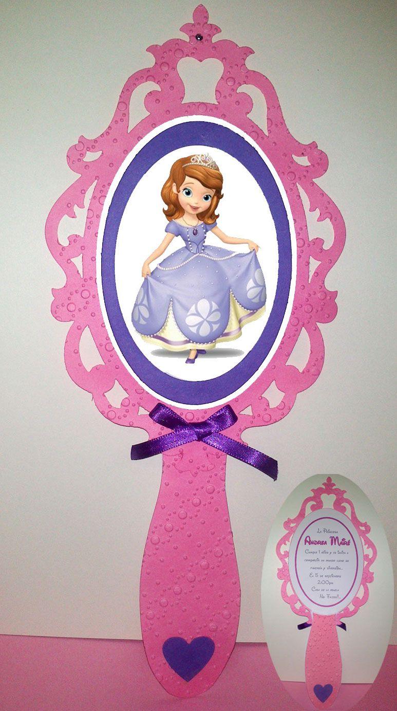 Bella invitaci n de princesa sof a en forma de espejo for Espejos con formas originales