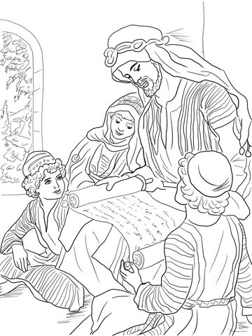 Prophet Hosea Reads to His Three Children Coloring page | Bible ...