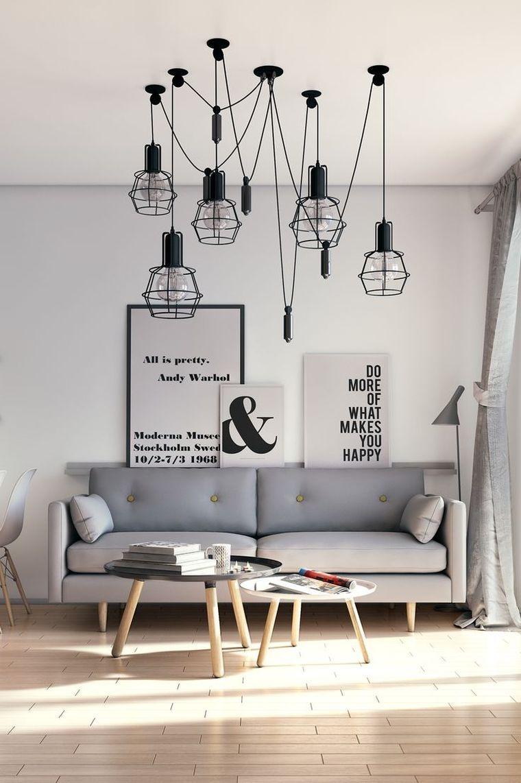 petit salon - idée de décoration avec luminaire design ...