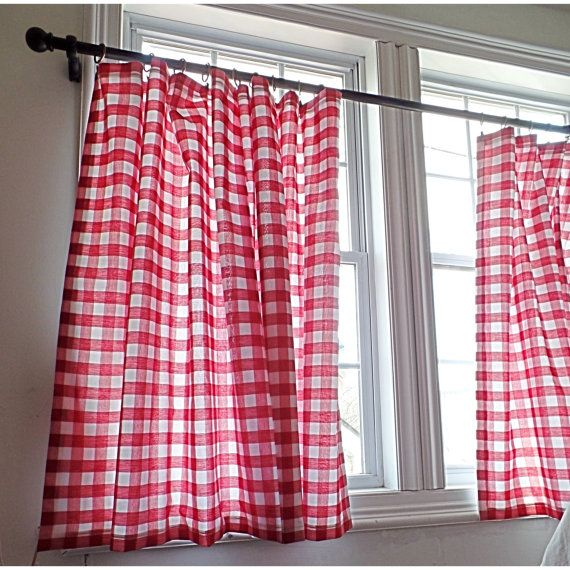 Gingham curtain panel by RusticFrenchDecor on Etsy