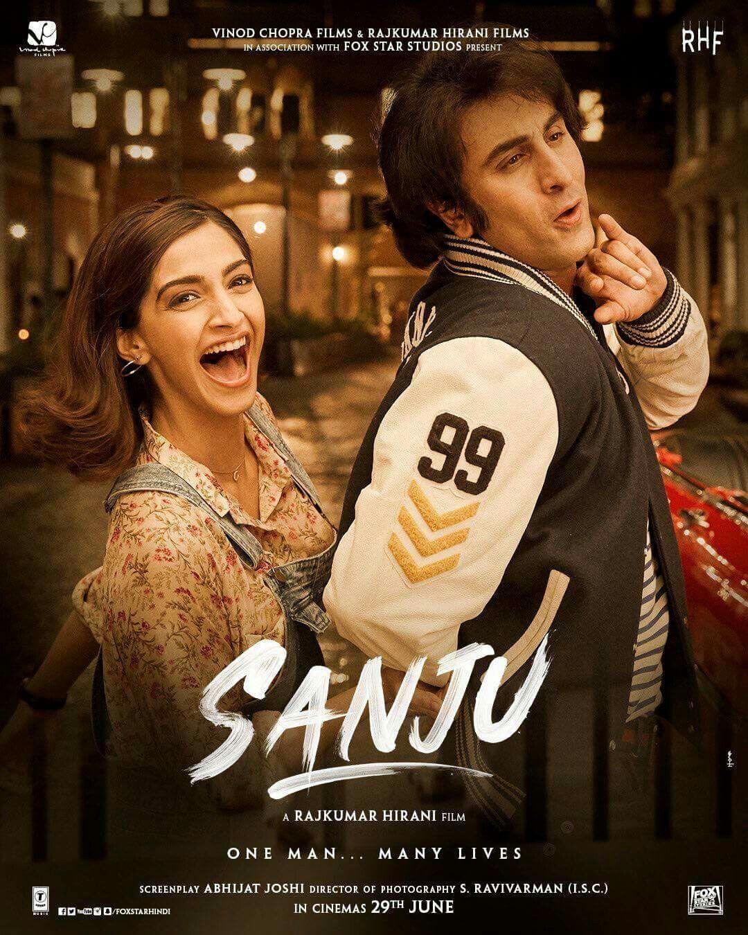 New poster of sanju -Ranbir kapoor with Sonam k Ahuja ...