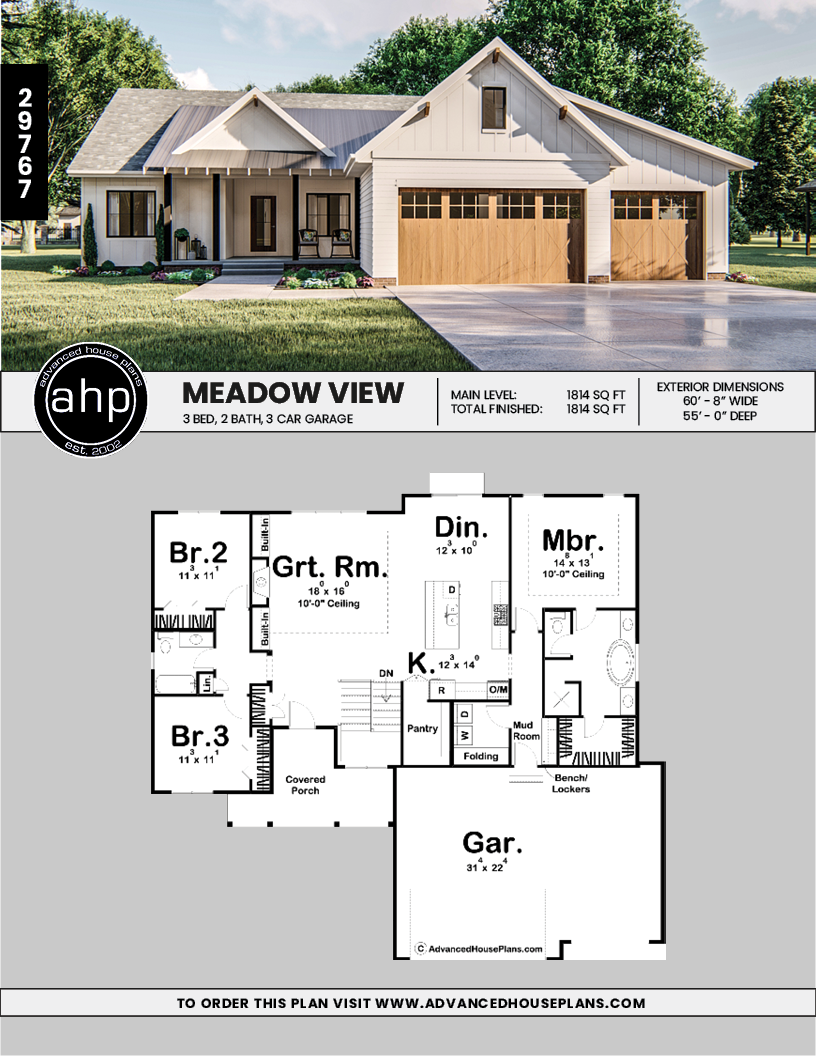 1 Story Modern Farmhouse Plan In 2020 With Images Modern Farmhouse Plans Rancher House Plans House Plans Farmhouse