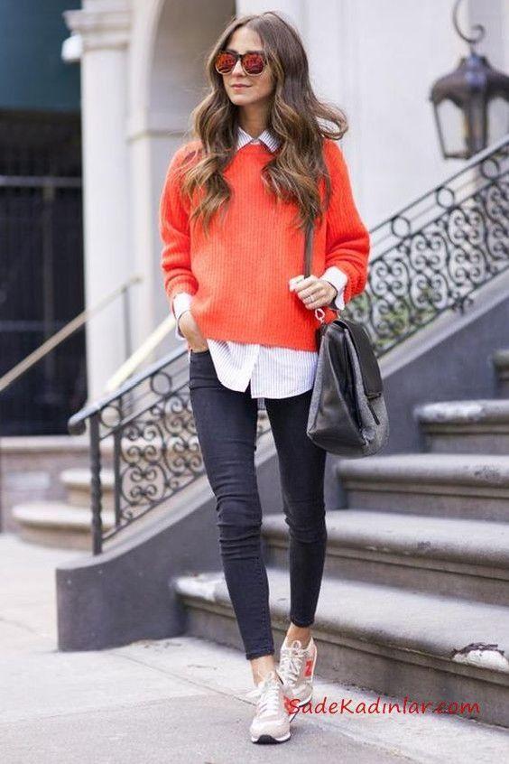 Sportswear Combinations Black Skinny Jean White Shirt Orange Loose Sweatshirt Mink Fitness ...  #bla...