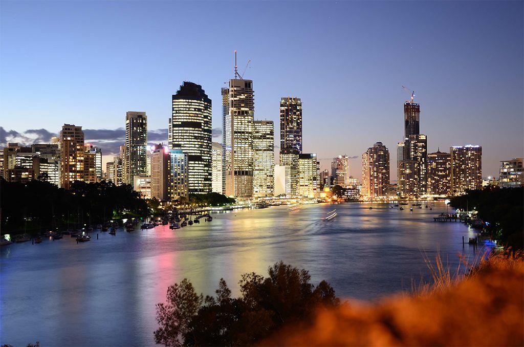 The Brisbane Skyline From Kangaroo Point Brisbane City