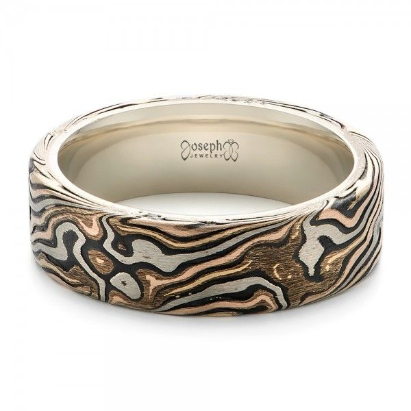 Mens Outdoors Bands: Rustic Custom Men's White Gold And Mokume Wedding Band