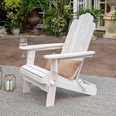Patio Wood Adirondack Chair White Wash Saracina Home White